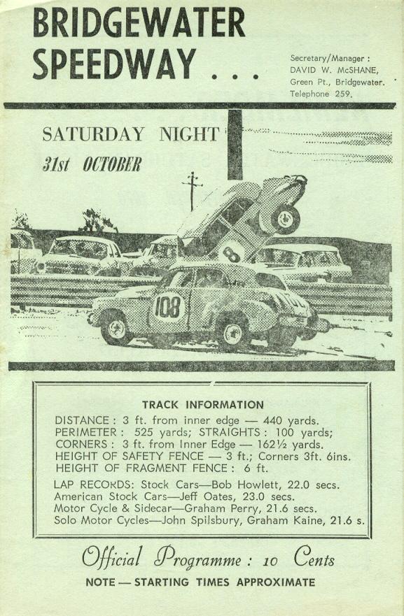 Bridgewater Speedway The Motor Racing Programme Covers