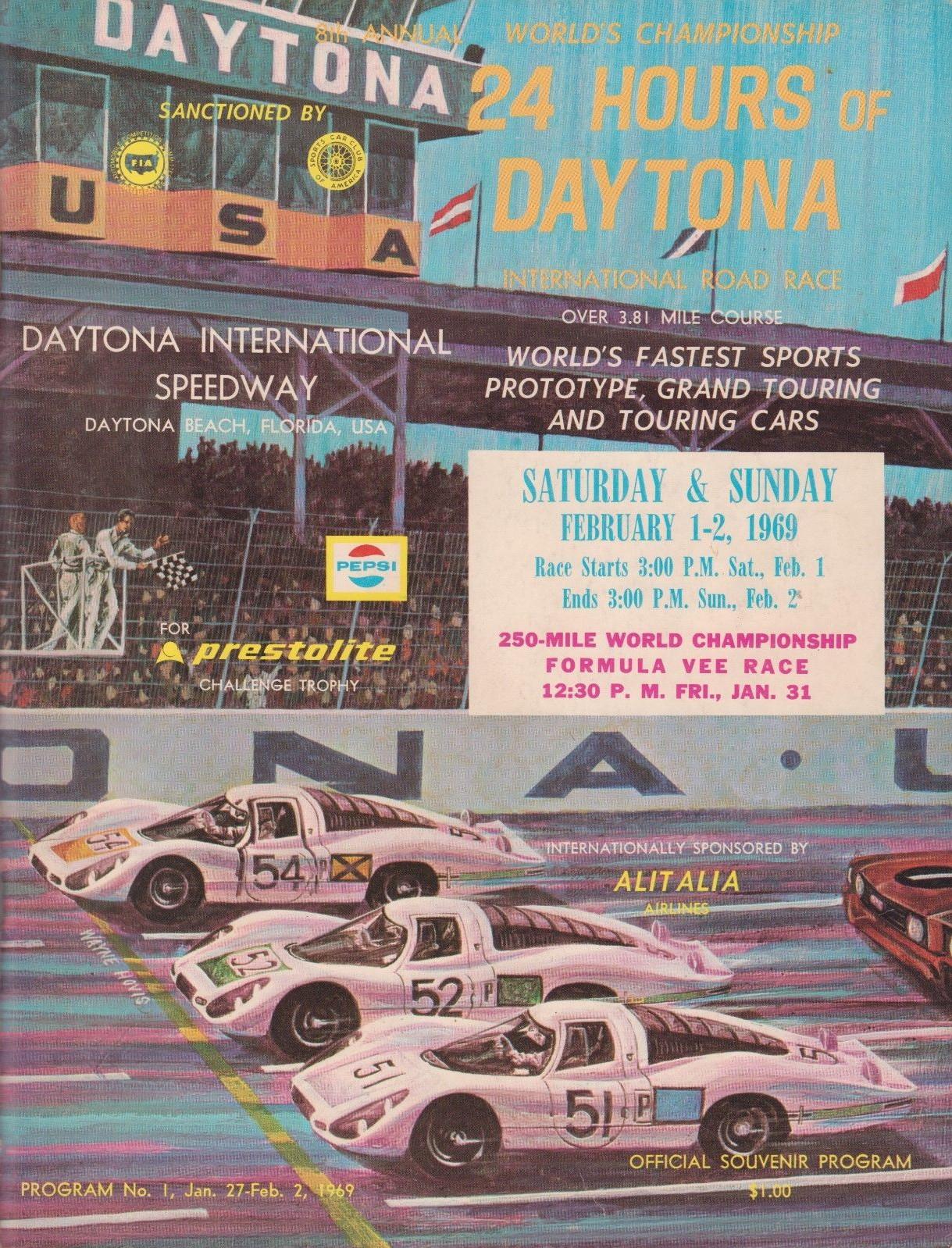United States Grand Prix 1969 Daytona International Speedway Car Racing Poster