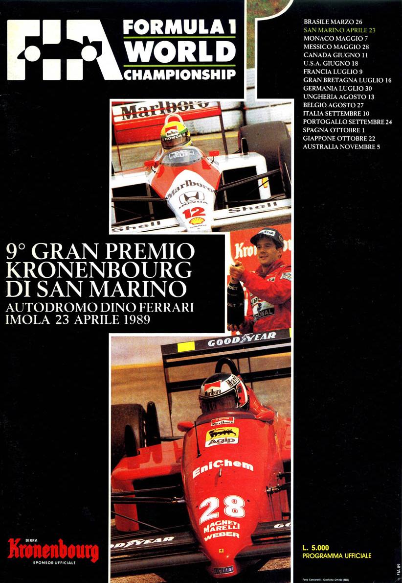 1989 formula 1 world championship programmes the motor racing programme covers project. Black Bedroom Furniture Sets. Home Design Ideas