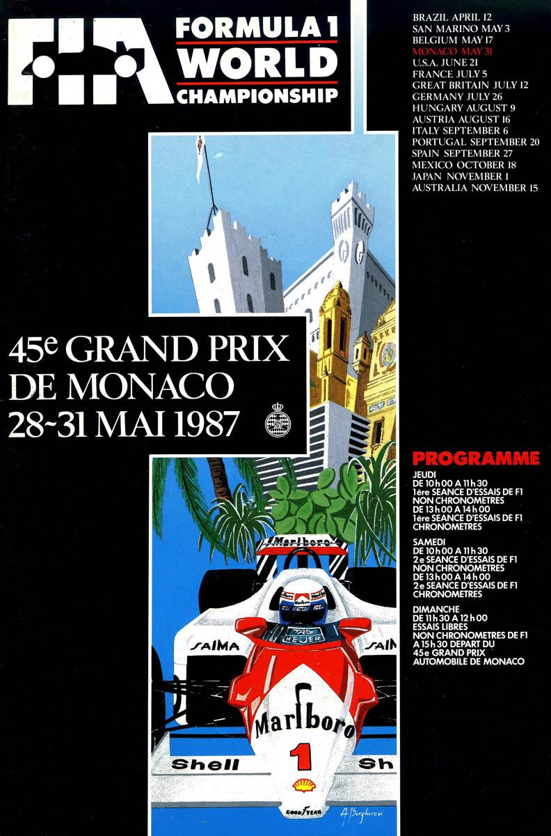 1987 formula 1 world championship programmes the motor racing programme covers project. Black Bedroom Furniture Sets. Home Design Ideas