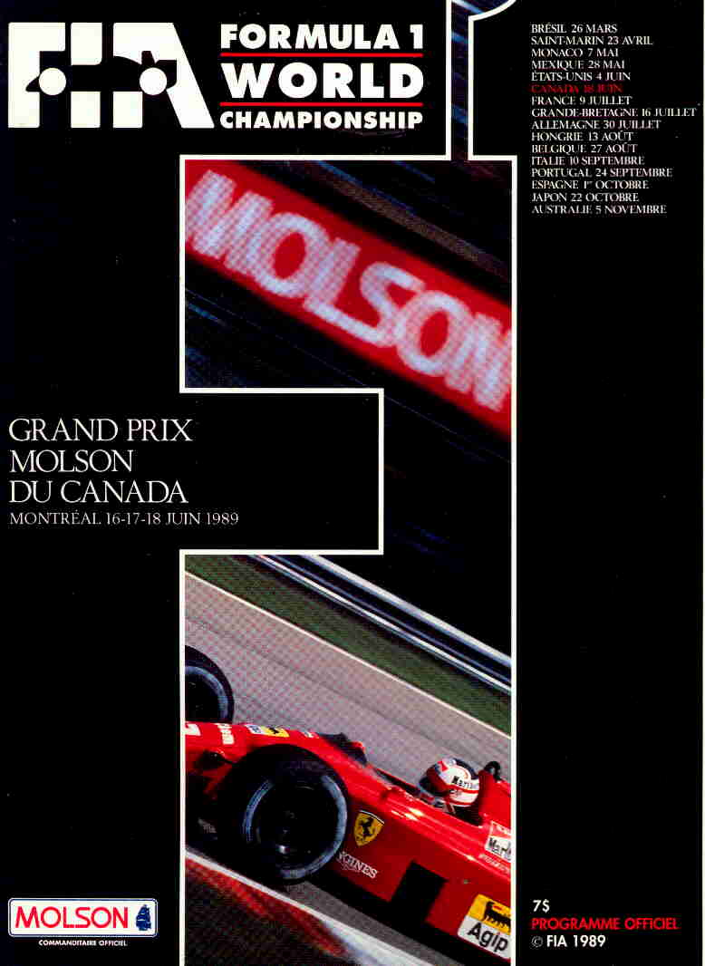 1989 formula 1 programmes the motor racing programme covers project. Black Bedroom Furniture Sets. Home Design Ideas