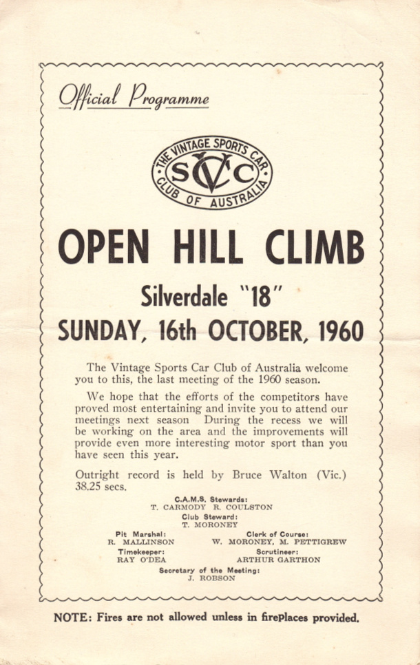 Silverdale Hill Climb The Motor Racing Programme Covers