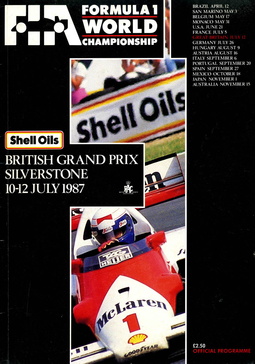 1987 formula 1 world championship programmes the motor racing programme covers project. Black Bedroom Furniture Sets. Home Design Ideas