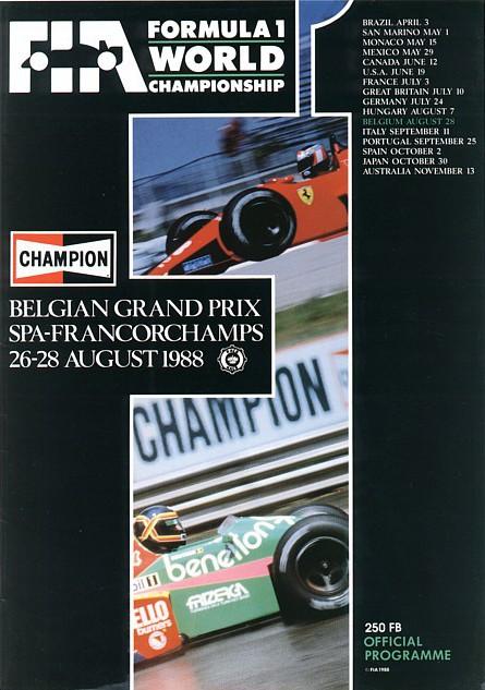 1988 formula 1 programmes the motor racing programme covers project. Black Bedroom Furniture Sets. Home Design Ideas